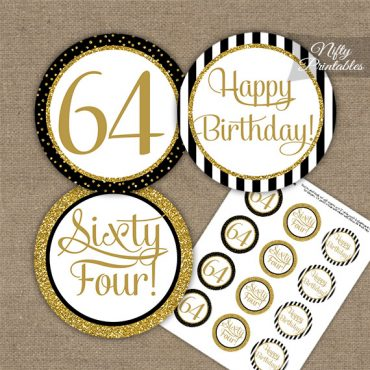 64th Birthday Cupcake Toppers - Black Gold