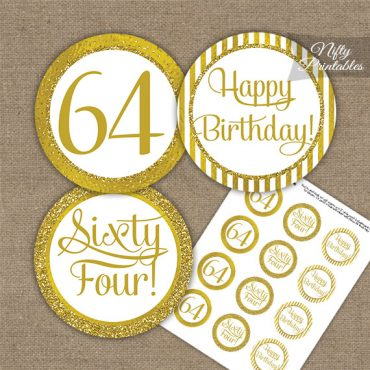 64th Birthday Cupcake Toppers - All Gold