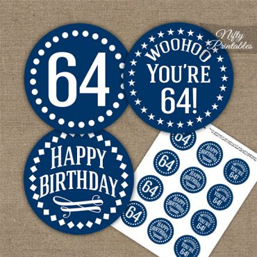 64th Birthday Cupcake Toppers - Navy White Impact