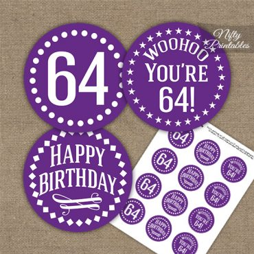 64th Birthday Cupcake Toppers - Purple White Impact