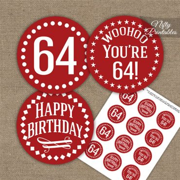 64th Birthday Cupcake Toppers - Red White Impact