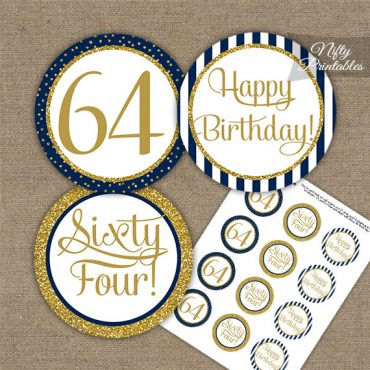 64th Birthday Cupcake Toppers - Navy Blue Gold