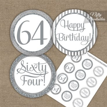 64th Birthday Cupcake Toppers - All Silver