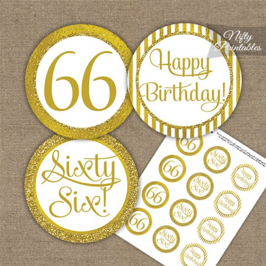 66th Birthday Cupcake Toppers - All Gold