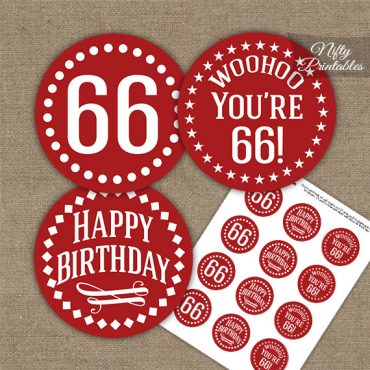 66th Birthday Cupcake Toppers - Red White Impact