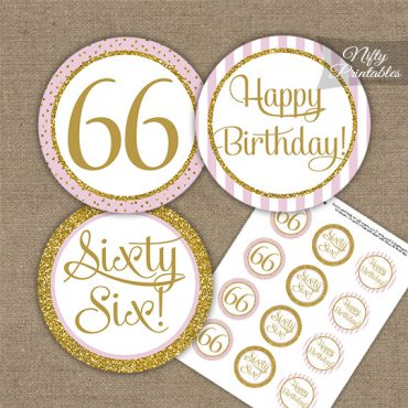 66th Birthday Cupcake Toppers - Pink Gold