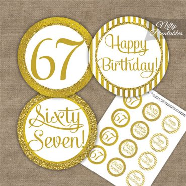 67th Birthday Cupcake Toppers - All Gold