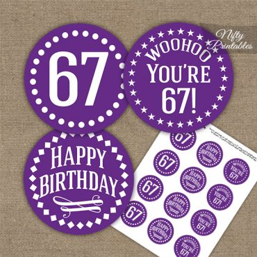 67th Birthday Cupcake Toppers - Purple White Impact