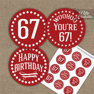 67th Birthday Cupcake Toppers - Red White Impact