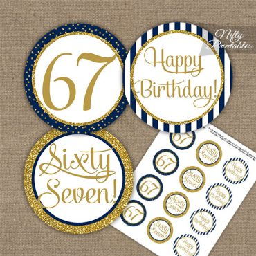 67th Birthday Cupcake Toppers - Navy Blue Gold