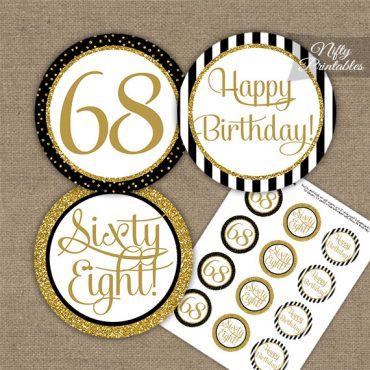 68th Birthday Cupcake Toppers - Black Gold