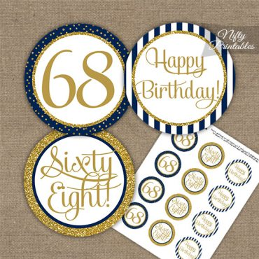 68th Birthday Cupcake Toppers - Navy Blue Gold