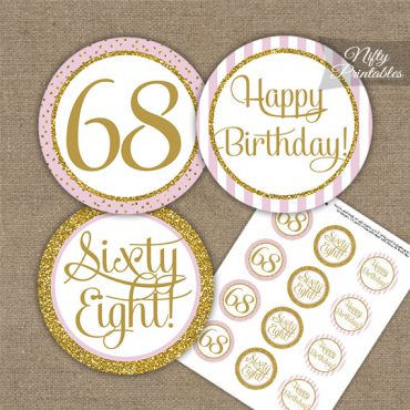68th Birthday Cupcake Toppers - Pink Gold