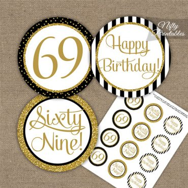 69th Birthday Cupcake Toppers - Black Gold
