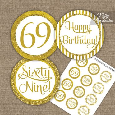 69th Birthday Cupcake Toppers - All Gold