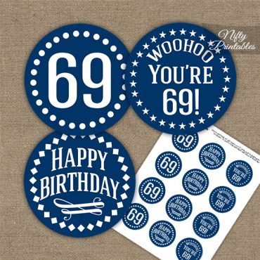69th Birthday Cupcake Toppers - Navy White Impact