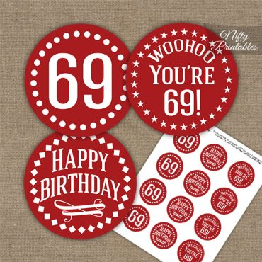 69th Birthday Cupcake Toppers - Red White Impact