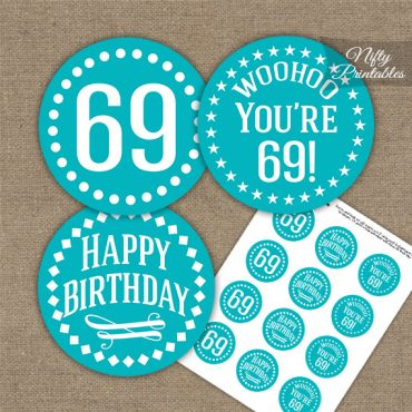 69th Birthday Cupcake Toppers - Turquoise White Impact