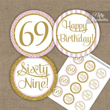 69th Birthday Cupcake Toppers - Pink Gold