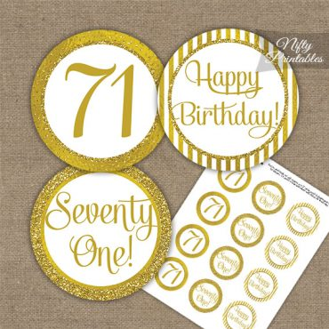 71st Birthday Cupcake Toppers - All Gold