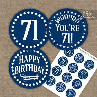 71st Birthday Cupcake Toppers - Navy White Impact