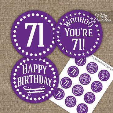 71st Birthday Cupcake Toppers - Purple White Impact