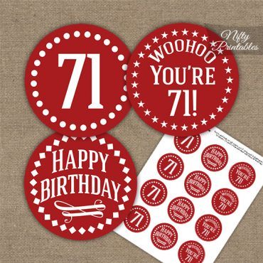 71st Birthday Cupcake Toppers - Red White Impact