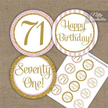 71st Birthday Cupcake Toppers - Pink Gold