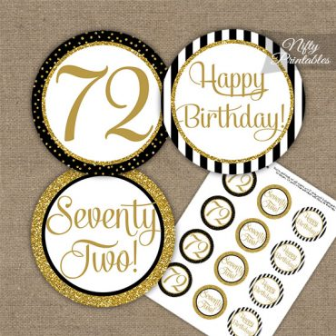 72nd Birthday Cupcake Toppers - Black Gold