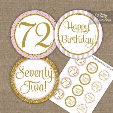 72nd Birthday Cupcake Toppers - Pink Gold