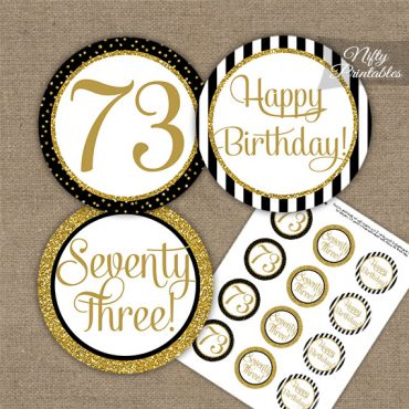 73rd Birthday Cupcake Toppers - Black Gold