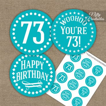 73rd Birthday Cupcake Toppers - Turquoise White Impact