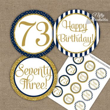 73rd Birthday Cupcake Toppers - Navy Blue Gold