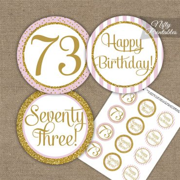 73rd Birthday Cupcake Toppers - Pink Gold