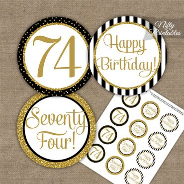 74th Birthday Cupcake Toppers - Black Gold