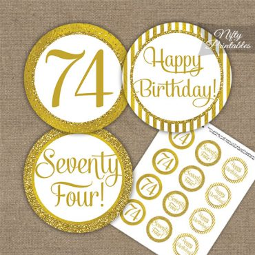 74th Birthday Cupcake Toppers - All Gold