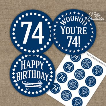 74th Birthday Cupcake Toppers - Navy White Impact
