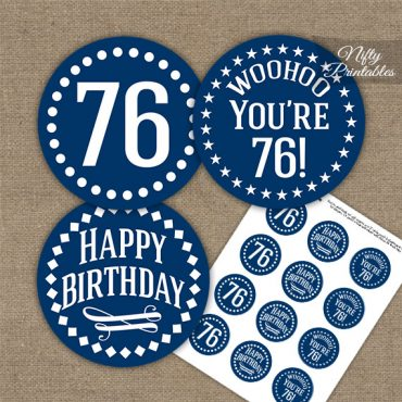 76th Birthday Cupcake Toppers - Navy White Impact