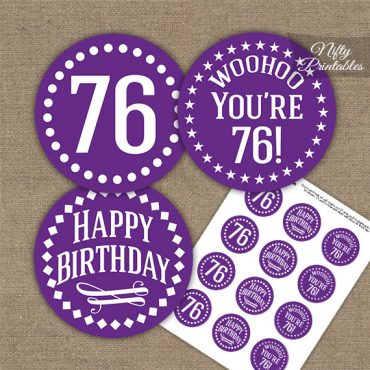 76th Birthday Cupcake Toppers - Purple White Impact