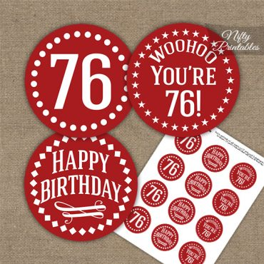 76th Birthday Cupcake Toppers - Red White Impact