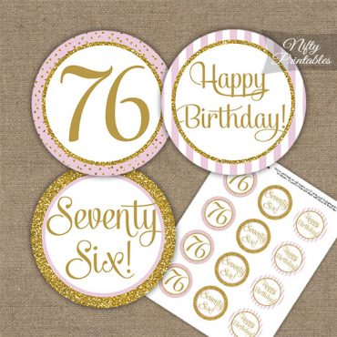 76th Birthday Cupcake Toppers - Pink Gold