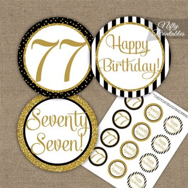77th Birthday Cupcake Toppers - Black Gold