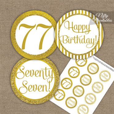 77th Birthday Cupcake Toppers - All Gold