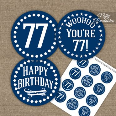 77th Birthday Cupcake Toppers - Navy White Impact