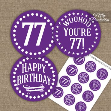 77th Birthday Cupcake Toppers - Purple White Impact