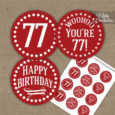 77th Birthday Cupcake Toppers - Red White Impact