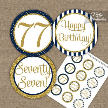 77th Birthday Cupcake Toppers - Navy Blue Gold