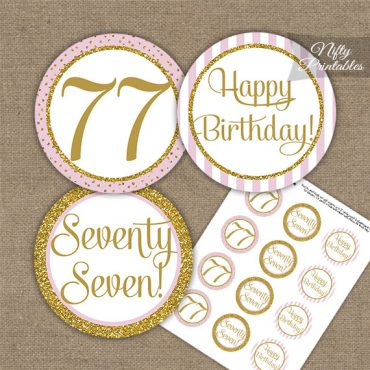 77th Birthday Cupcake Toppers - Pink Gold