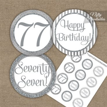 77th Birthday Cupcake Toppers - All Silver