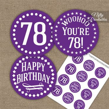 78th Birthday Cupcake Toppers - Purple White Impact